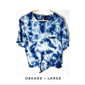 2bb3b41d5f1 NWT Women's Large Tie Dye T Shirt Crop Top Blue